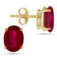 All-Natural Genuine 7x5 mm, Oval Ruby earrings set in 14k Yellow gold