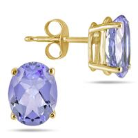 All-Natural Genuine 7x5 mm, Oval Tanzanite earrings set in 14k Yellow gold