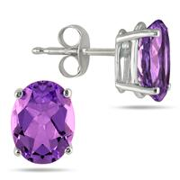 All-Natural Genuine 8x6 mm, Oval Amethyst earrings set in 14k White Gold