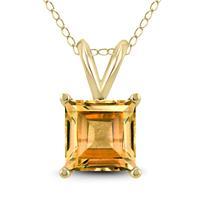 14K Yellow Gold 7MM Princess Shaped Citrine Pendant