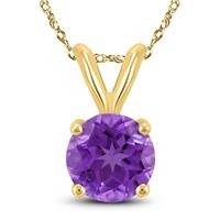 14K Yellow Gold 5MM Round Amethyst Pendant