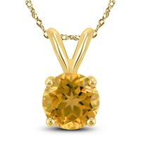 14K Yellow Gold 5MM Round Citrine Pendant