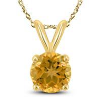 14K Yellow Gold 7MM Round Citrine Pendant