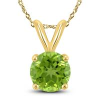 14K Yellow Gold 7MM Round Peridot Pendant