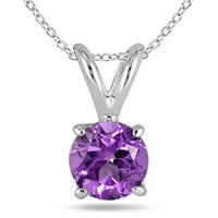 All-Natural Genuine 4 mm, Round Amethyst pendant set in 14k White Gold
