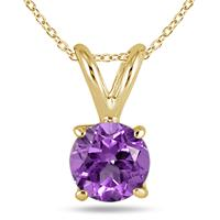 All-Natural Genuine 5 mm, Round Amethyst pendant set in 14k Yellow gold