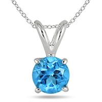 All-Natural Genuine 5 mm, Round Blue Topaz pendant set in 14k White Gold