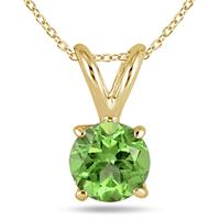 All-Natural Genuine 6 mm, Round Peridot pendant set in 14k Yellow gold