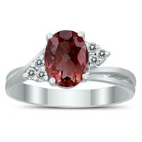 8X6MM Garnet and Diamond Twist Ring in 10K White Gold