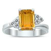 8X6MM Citrine and Diamond Twist Ring in 10K White Gold
