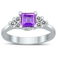 Princess Cut 5X5MM Amethyst and Diamond Duchess Ring in 10K White Gold