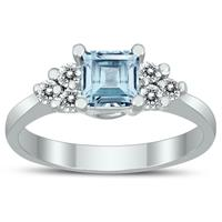 Princess Cut 5X5MM Aquamarine and Diamond Duchess Ring in 10K White Gold