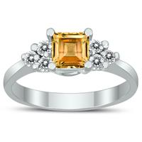 Princess Cut 5X5MM Citrine and Diamond Duchess Ring in 10K White Gold