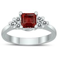 Princess Cut 5X5MM Garnet and Diamond Duchess Ring in 10K White Gold