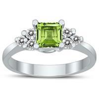 Princess Cut 5X5MM Peridot and Diamond Duchess Ring in 10K White Gold