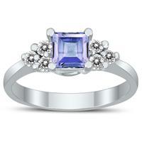 Princess Cut 5X5MM Tanzanite and Diamond Duchess Ring in 10K White Gold