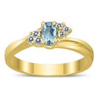 5X3MM Aquamarine and Diamond Twist Ring in 10K Yellow Gold