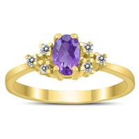 6X4MM Amethyst and Diamond Regal Ring in 10K Yellow Gold