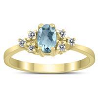 6X4MM Aquamarine and Diamond Regal Ring in 10K Yellow Gold