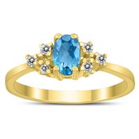 6X4MM Blue Topaz and Diamond Regal Ring in 10K Yellow Gold