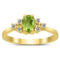 6X4MM Peridot and Diamond Regal Ring in 10K Yellow Gold