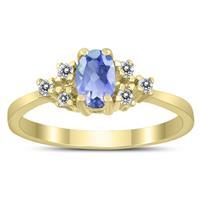 6X4MM Tanzanite and Diamond Regal Ring in 10K Yellow Gold