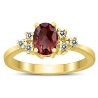7X5MM Garnet and Diamond Regal Ring in 10K Yellow Gold