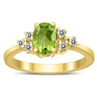 7X5MM Peridot and Diamond Regal Ring in 10K Yellow Gold