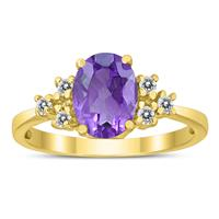 8X6MM Amethyst and Diamond Regal Ring in 10K Yellow Gold