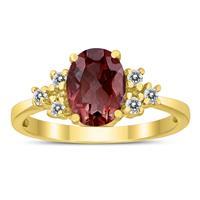 8X6MM Garnet and Diamond Regal Ring in 10K Yellow Gold