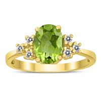 8X6MM Peridot and Diamond Regal Ring in 10K Yellow Gold