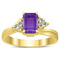 7X5MM Amethyst and Diamond Twist Ring in 10K Yellow Gold