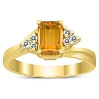 7X5MM Citrine and Diamond Twist Ring in 10K Yellow Gold