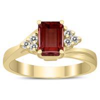 7X5MM Garnet and Diamond Twist Ring in 10K Yellow Gold