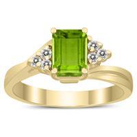 7X5MM Peridot and Diamond Twist Ring in 10K Yellow Gold