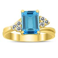 8X6MM Blue Topaz and Diamond Twist Ring in 10K Yellow Gold