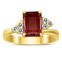 8X6MM Garnet and Diamond Twist Ring in 10K Yellow Gold