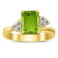 8X6MM Peridot and Diamond Twist Ring in 10K Yellow Gold