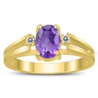 7X5MM Amethyst and Diamond Open Three Stone Ring in 10K Yellow Gold