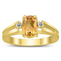 7X5MM Citrine and Diamond Open Three Stone Ring in 10K Yellow Gold