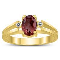 7X5MM Garnet and Diamond Open Three Stone Ring in 10K Yellow Gold