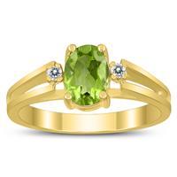 7X5MM Peridot and Diamond Open Three Stone Ring in 10K Yellow Gold