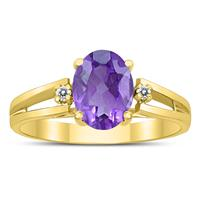 8X6MM Amethyst and Diamond Open Three Stone Ring in 10K Yellow Gold
