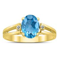 8X6MM Blue Topaz and Diamond Open Three Stone Ring in 10K Yellow Gold