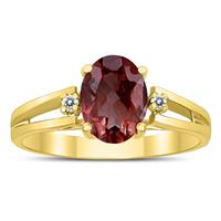 8X6MM Garnet and Diamond Open Three Stone Ring in 10K Yellow Gold