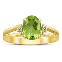 8X6MM Peridot and Diamond Open Three Stone Ring in 10K Yellow Gold