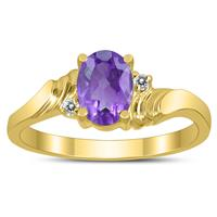 7X5MM Amethyst and Diamond Wave Ring in 10K Yellow Gold