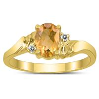 7X5MM Citrine and Diamond Wave Ring in 10K Yellow Gold