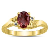 7X5MM Garnet and Diamond Wave Ring in 10K Yellow Gold
