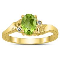 7X5MM Peridot and Diamond Wave Ring in 10K Yellow Gold